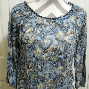 Kim Rodgers Blue Yellow White Medium floral top